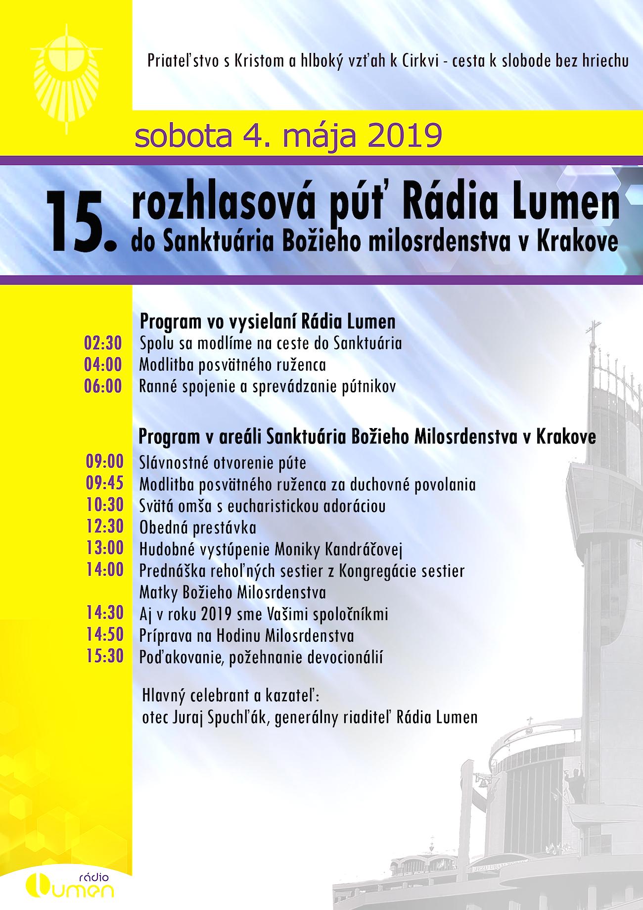 732cbbfcc625 do Sanktuária Božieho Milosrdenstva v Krakove. Púť sa uskutoční v sobotu 4.  mája 2019.